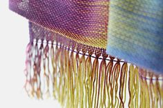 """Hand woven long scarf with gradually changing colors from #mustard and gold to #blue and purple. Amazing color shades and color variety. Measures: L: 78"""" with 6"""" fringe on bo... #kgthreads #purple"""