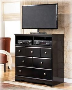 Shay Contemporary Almost Black Media Chest