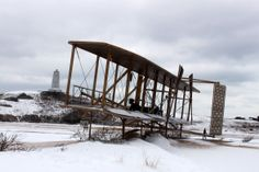 Replica Wright Flyer in Kill Devil Hills covered in snow. :: January 29, 2014 :: #SnOBX