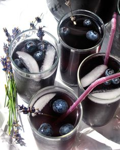 [ Recipe: Blueberry Lavender Cocktail (for pitcherful) ] Made with: blueberries, vodka, blueberry lavender simple syrup, lime juice, soda water, and fresh lavender (for garnish). Simple syrup made with: water, sugar, blueberries, and lavender sprigs (or dried lavender buds). ~ from The Kitchn