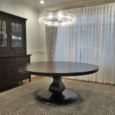 We usually don't add color to walnut, but we are loving our customer's decision to build their custom table in solid walnut and then have our American Walnut stain put on it! 60 Inch Round Table, Round Tables, Dining Tables, Walnut Stain, Walnut Wood, American Walnut, Dining Room Design, Custom Furniture, Home Kitchens