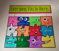 Puzzle idea for Bully Prevention Month - great for a community bulletin board accent. Spread awareness about bullying, and promote kindness and friendship.
