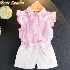 Girls Clothing Sets Summer Fashion Kids Clothes Girls Sleeveless Striped bow-knot T-shirt+White Short Suits Kids Outfits Girls, Toddler Outfits, Shirts For Girls, Boy Outfits, Girls Dresses, Toddler Girls, Baby Girls, Baby Girl Fashion, Kids Fashion