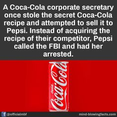 Pepsi, Coca Cola, Cola Recipe, Mind Blowing Facts, Unbelievable Facts, Mind Blown, Mindfulness, Things To Sell, Coke
