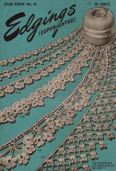 American Thread Star 41 Edgings Crochet Tatting Knitting Patterns Flower 1946 #AmericanThreadCompany #CrochetPatterns