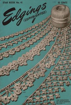 American Thread Star 41 Edgings Crochet Tatting Knitting Patterns Flower 1946 #AmericanThreadCompany #CrochetPatterns