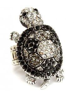 BLACK CRYSTAL TORTOISE LADIES FASHION STRETCH RING - Unusual Rings - Rings - Jewellery