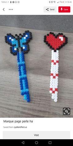 Marque page perle ha Easy Perler Bead Patterns, Melty Bead Patterns, Perler Bead Templates, Diy Perler Beads, Beading Patterns, Hamma Beads Ideas, Pearl Beads Pattern, Art Perle, Motifs Perler