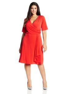 AGB Women's Plus-Size Elbow Sleeve Surplice Dress, Citrus, 14W