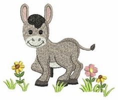 Farm Animals 9 - 4x4 | What's New | Machine Embroidery Designs | SWAKembroidery.com Donkey Ace Points Embroidery