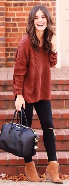 #winter #fashion /  Red Knit / Black Leather Tote Bag / Camel Suede Booties / Ripped Skinny Jeans