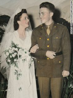 Lloyd and Marian Michael on their wedding day, December just about a year after the attack on Pearl Harbor that drew the United States into World War II. Great story about their missing love letters ~ such a beautiful love story 1940s Wedding, Vintage Wedding Photos, Wedding Pics, Wedding Couples, Wedding Styles, Wedding Day, Wedding Dresses, Vintage Weddings, Vintage Pictures