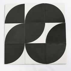 "Moroccan Encaustic Cement Tile   bold quarter circle pattern - arc 8"" x 8"""