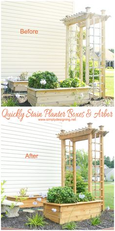 How to Quickly Stain two planter boxes and an arbor in less then 30 minutes!  #stain #staining #diy #exterior