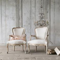 Eloquence® Pair of Vintage French Louis XV Cream Armchairs | Kathy Kuo Home