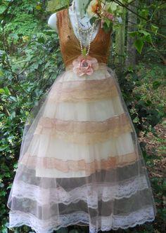 Tea lace dress tea stained tulle vintage wedding bridesmaid fairytale rose   romantic medium   by vintage opulence on Etsy