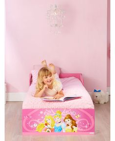 Make the move from cot to a 'big' bed easy with this Disney Princess Toddler Bed. Big on imagination but easy on the pocket, this toddler bed will have your little one right on track for a brilliant bedtime routine. Perfect for toddlers, the low to the ground bed features protective side panels to prevent bedtime tumbles so they get a good nights sleep and you get peace of mind.