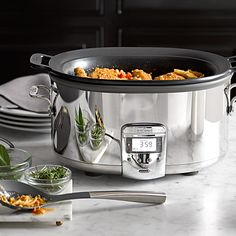 All-Clad Deluxe Slow Cooker with Cast-Aluminum Insert.  All-Clad's top-of-the-line cooker features a nonstick cast-aluminum insert that you can use on the stovetop to brown ingredients before transferring it to the base for slow cooking.