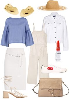 """Sunday's Cravings: Pure. Earrings - Cornelia Webb, Straw Hat - & Other Stories, Denim Jacket - Wood Wood, Blouse - Rodebjer, Overall - Mango, Olio Lusso Lipstick in """"Tough Tomato"""" - Rodin, Skirt - Max & Co, Sandals - Mango, Faye Bag - Chloé, Sneaker - Comme Des Garçons Play - teetharejade.com"""