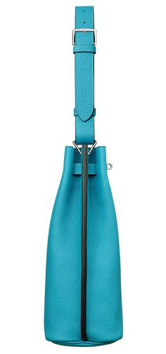 Hermes - So Kelly bag in turquoise leather. Side view.