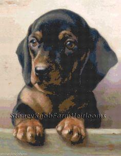 Dachshund Puppy ~ Dogs ~ Counted Cross Stitch Pattern ~ PDF on CD #StoneyKnobFarmHeirlooms #CountedCrossStitch
