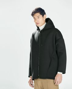 ZARA Man BNWT Black Oversized Dark Coat Hooded Zip And Magnet Closure 8418/302