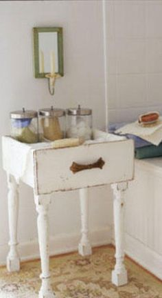 #DIY Side Table // Just Add Legs To An Old Drawer