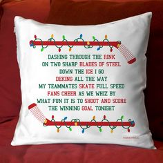 """Hockey 14"""" x 14"""" Pillow Hockey Players Jingle All The Way"""