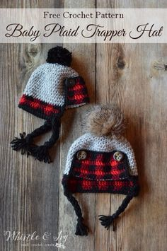 FREE Crochet Pattern: Crochet Baby Plaid Trapper Hat | Make this adorable rustic plaid hat for baby this winter! Includes three sizes.