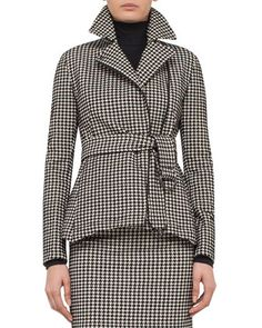 Belted+Houndstooth+Peplum+Jacket,+Black/Cream+by+Akris+punto+at+Bergdorf+Goodman.