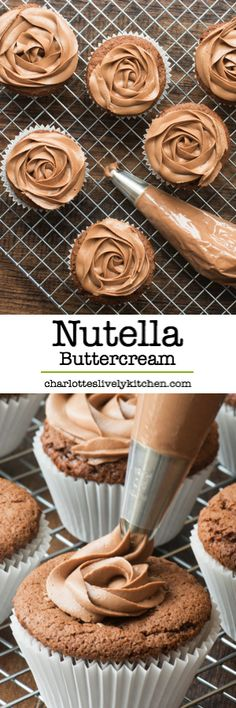 Smooth Nutella buttercream is so easy to make and is the perfect topping for cupcakes, birthday cakes, layer cakes, or anywhere else you might need a little buttercream really! (no cookie sweet treats) Cupcake Flavors, Cupcake Recipes, Baking Recipes, Cupcake Cakes, Dessert Recipes, Kitchen Recipes, Cake Cookies, Buttercream Recipe, Icing Recipe