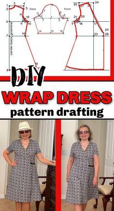 African Dress Patterns, Dress Making Patterns, Wrap Dress Patterns, Sewing Tutorials, Sewing Projects, Sewing Hacks, Sewing Ideas, Wrap Clothing, Clothing Ideas