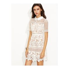 SheIn(sheinside) White Crochet Lace Overlay Shirt Dress (€39) ❤ liked on Polyvore featuring dresses, white, short-sleeve maxi dresses, shirt dress, white shirt dress, sheath dress and white day dress