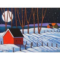 Night Stars Snow Tree Shadows Winter Moon  Cathy Horvath Buchanan