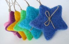 Six Color Fluffy Christmas Stars -Needle Felted - Christmas Decoration. Felt Christmas Decorations, Felt Christmas Ornaments, Christmas Stars, Diy Ornaments, Beaded Ornaments, Blue Christmas, Glass Ornaments, Felt Crafts, Christmas Crafts