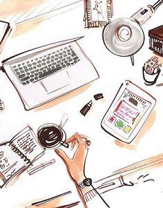 Ilustración escritorio laptop vintage