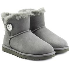 UGG Australia Mini Bailey Bling Boots ($210) ❤ liked on Polyvore featuring shoes, boots, grey, rounded toe boots, round toe shoes, ankle length boots, ugg australia and sparkle shoes