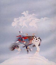 Native American Artist Rance Hood - Hey, I have this print! Native American Horses, Native American Paintings, Native American Images, Native American Artists, American Indian Art, Native American History, Indian Paintings, Cherokee Indian Art, Native American Drawing