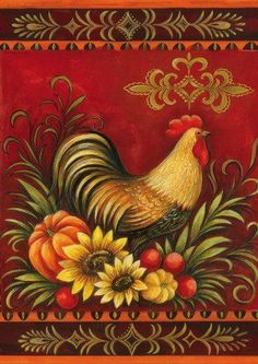 Fall Rooster Fall Garden Flag by Toland Rooster Painting, Rooster Art, Rooster Decor, Tole Painting, Hen Chicken, Chicken Art, Decoupage Vintage, Arte Do Galo, Rooster Illustration