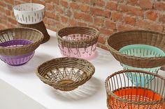 rattan and plastic bowls