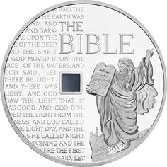 2015 Burkina Faso 1 oz 1k Francs silver coin - The Bible (nano chip insert containing the text of the entire Bible, nearly 800k words).