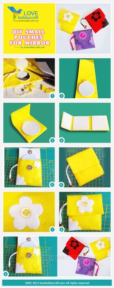 DIY small pouches for mirror