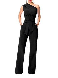 Belted Drape One Shoulder Jumpsuit!