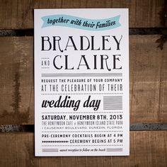 Modern Rustic Wedding Invitations - The Bradley - typography, billboard, unique, modern, casual wedding, rustic wedding