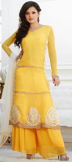 424677:  #DrashtiDhami looks adorable in this #SalwarKameez.  #Partywear #Yellow #Sale #Bollywood #Onlineshopping