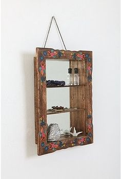 Hand Painted Mirrored Shelf from Urban Outfitters.  Perfect for collection of mini perfume bottles.