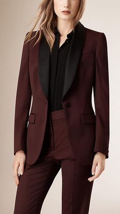 Deep claret Satin-lapel Stretch Wool Jacket