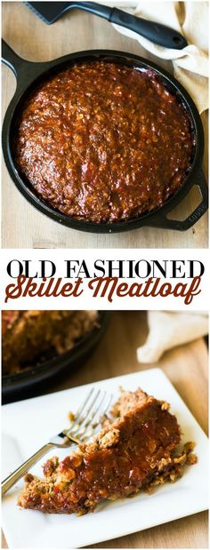Old Fashioned Skillet Meatloaf - This classic meatloaf recipe cooks to perfection in a cast iron skillet. It always makes me think about Sunday dinners at Grandma's house as a child. You're going to love it! loaf Old Fashioned Skillet Meatloaf Cast Iron Skillet Cooking, Iron Skillet Recipes, Cast Iron Recipes, Skillet Dinners, Cooking With Cast Iron, Ground Beef Recipes Skillet, Skillet Food, Pasta Dinners, Meatloaf Recipes