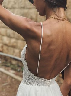 Boho chic | Wedding dress | Lace | Open back | | lace straps | flowing skirt | Manuella 2018 by FLORA