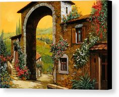 Arch Canvas Print featuring the painting Arco Di Paese by Guido Borelli